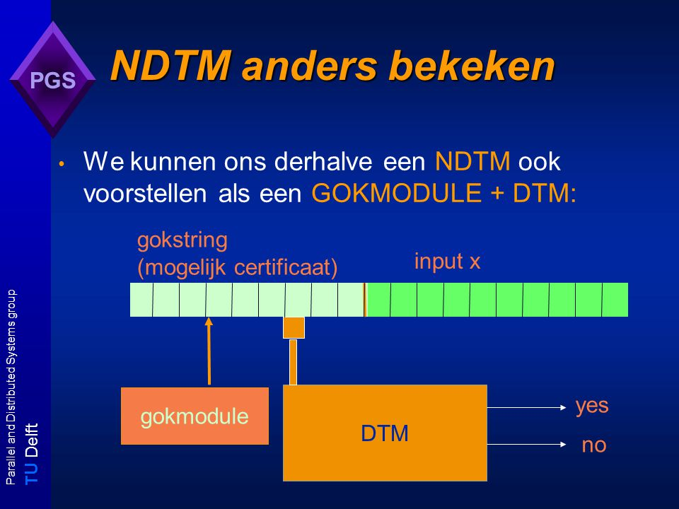 T U Delft Parallel and Distributed Systems group PGS NDTM: simulatie met DTM p(|x|)