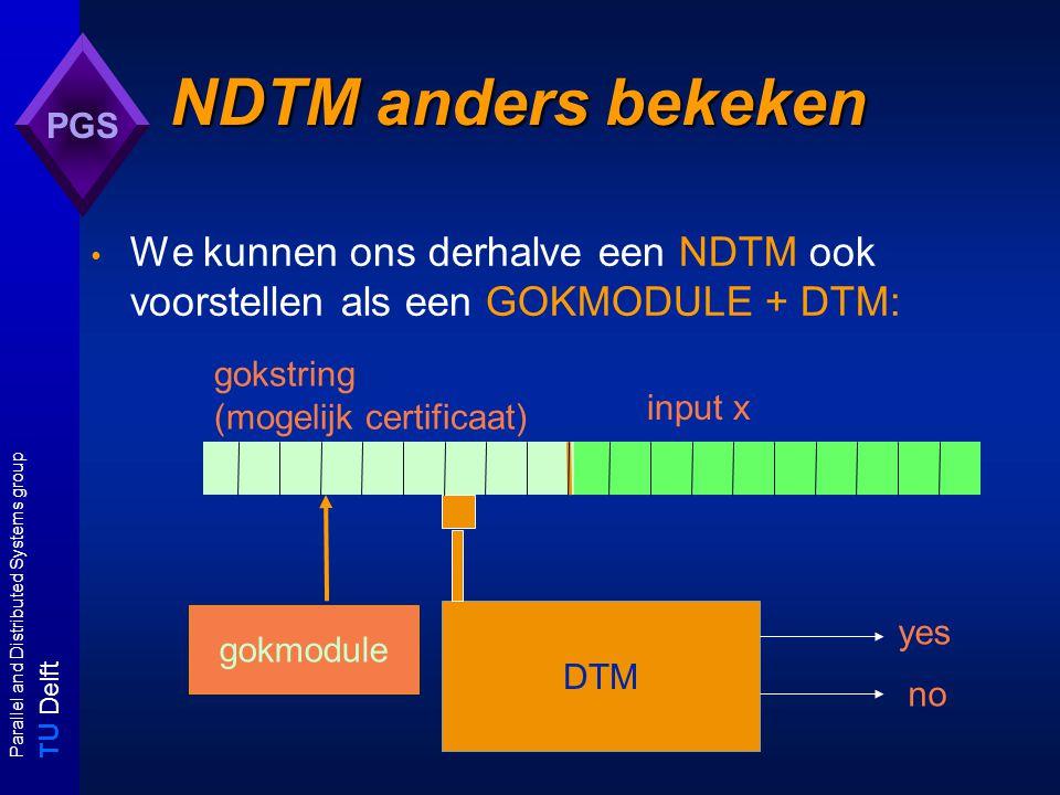 T U Delft Parallel and Distributed Systems group PGS gokmodule NDTM anders bekeken We kunnen ons derhalve een NDTM ook voorstellen als een GOKMODULE + DTM: DTM input x gokstring (mogelijk certificaat) yes no