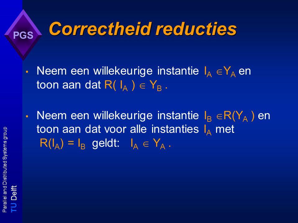 T U Delft Parallel and Distributed Systems group PGS Hierarchie stellingen ruimte-onderscheid: - als f(n) en g(n) 'nette' ruimtebegrenzingen zijn en lim n  inf f(n)/g(n) = 0 dan is er een berekenbaar probleem in ruimte begrensd door g(n), maar niet door f(n).