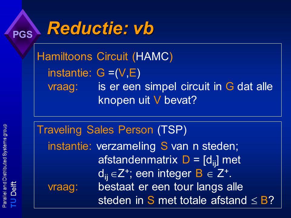 T U Delft Parallel and Distributed Systems group PGS Voorbeeld: HAMC  TSP input: HAMC-instantie G = (V,E) output: yes alss G in Y HAMC begin C := V ; D := [ d ij ] |V| x |V| where d ij = 1 if { v i, v j }  E and d ij = 2 else; B := |V|; return TSP(C,D,B) end algoritme voor het TSP probleem