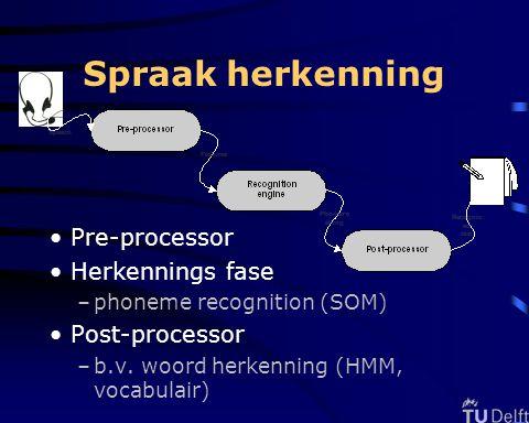 Spraak herkenning Pre-processor Herkennings fase –phoneme recognition (SOM) Post-processor –b.v.