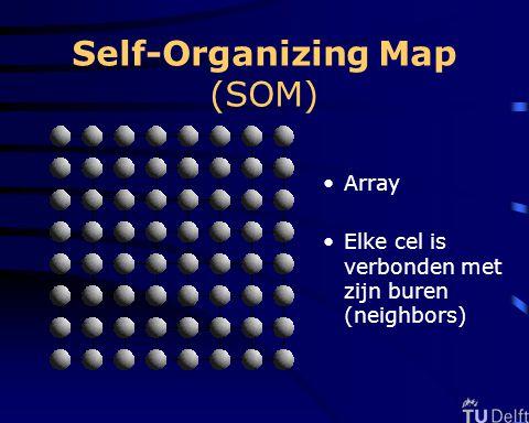 Self-Organizing Map (SOM) Array Elke cel is verbonden met zijn buren (neighbors)