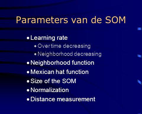 Voordelen SOM Trainings data hoeft niet te worden gesegmenteerd Tijdens herkenning is het algoritme zeer snel