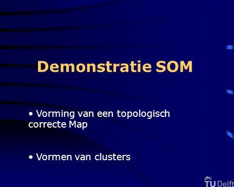 Demonstratie SOM Vorming van een topologisch correcte Map Vormen van clusters