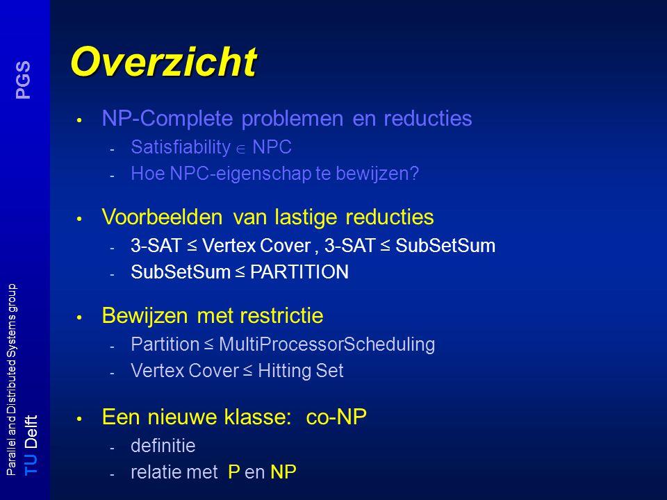 T U Delft Parallel and Distributed Systems group PGS Een nieuwe klasse: Co-NP Een probleem A is in co-NP als no-instanties in polynomiale tijd verifieerbaar zijn, i.e.