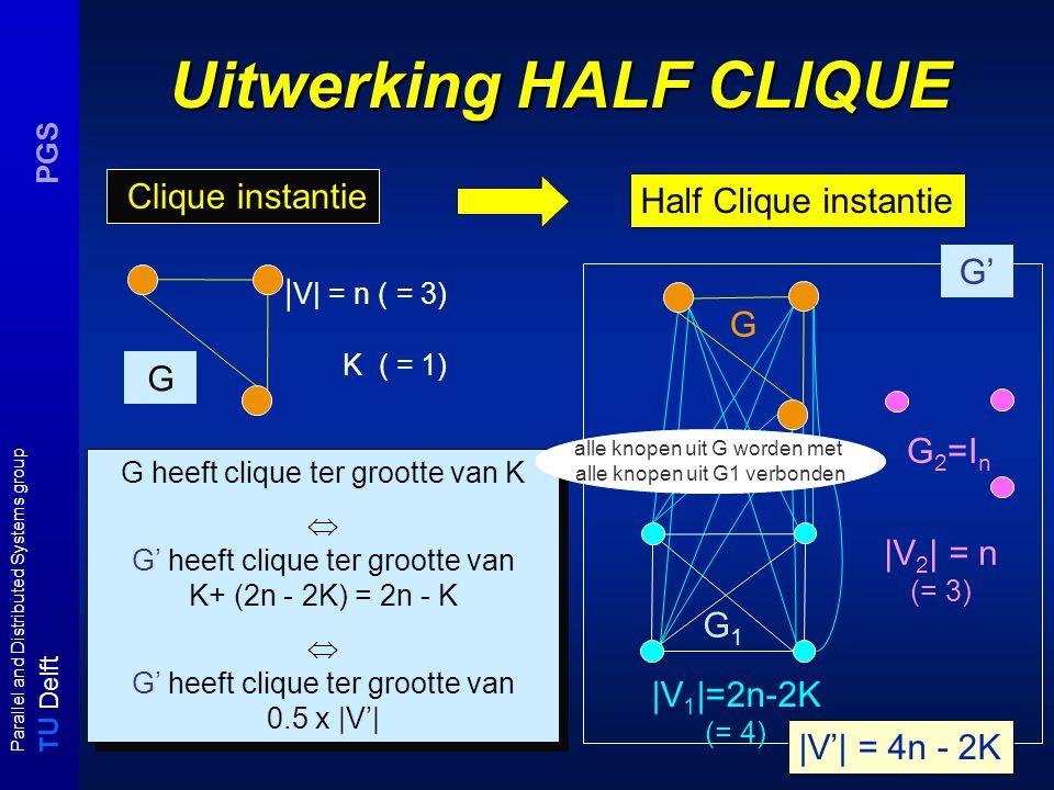 T U Delft Parallel and Distributed Systems group PGS Relaties tussen tijd en ruimte complexiteitsklassen L NL P P NP EXP (N)PolyL (N)PSPACE (N)EXPSPACE LkLk NL k is strict bevat in is bevat in