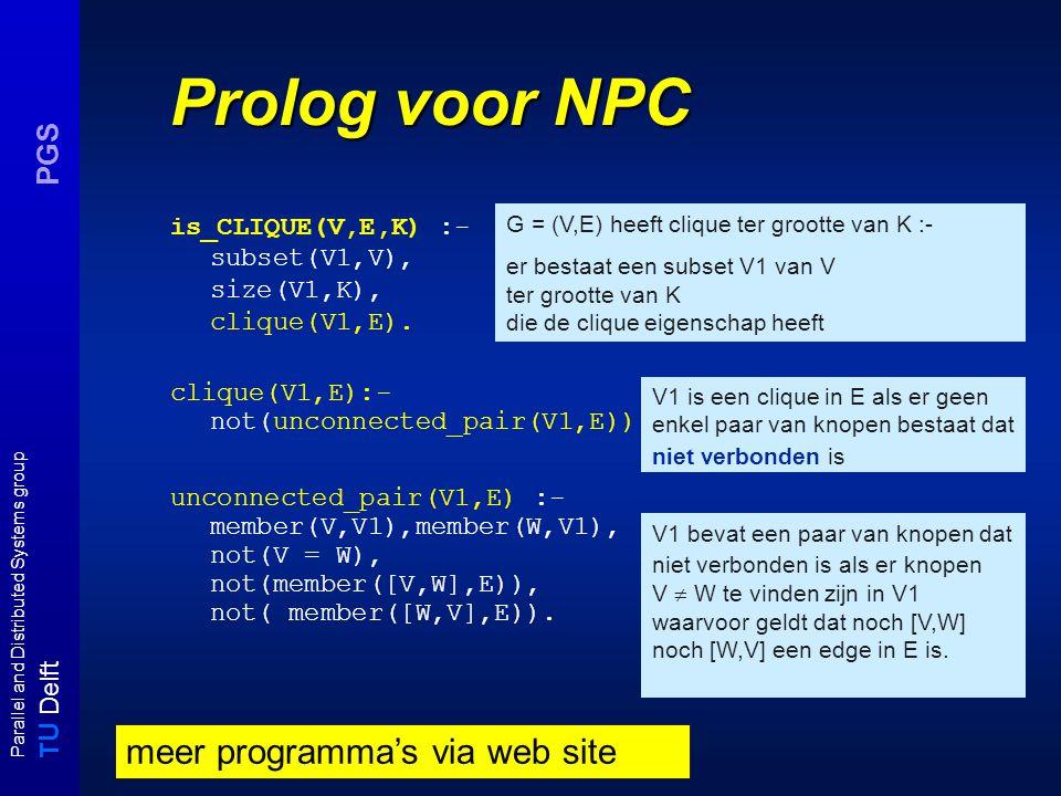 T U Delft Parallel and Distributed Systems group PGS Overzicht college 4 Opgaven - dubbel sat - half clique Ruimte en Tijdklassen - overzicht complexiteitsklassen, definities - relaties - hierarchie stellingen