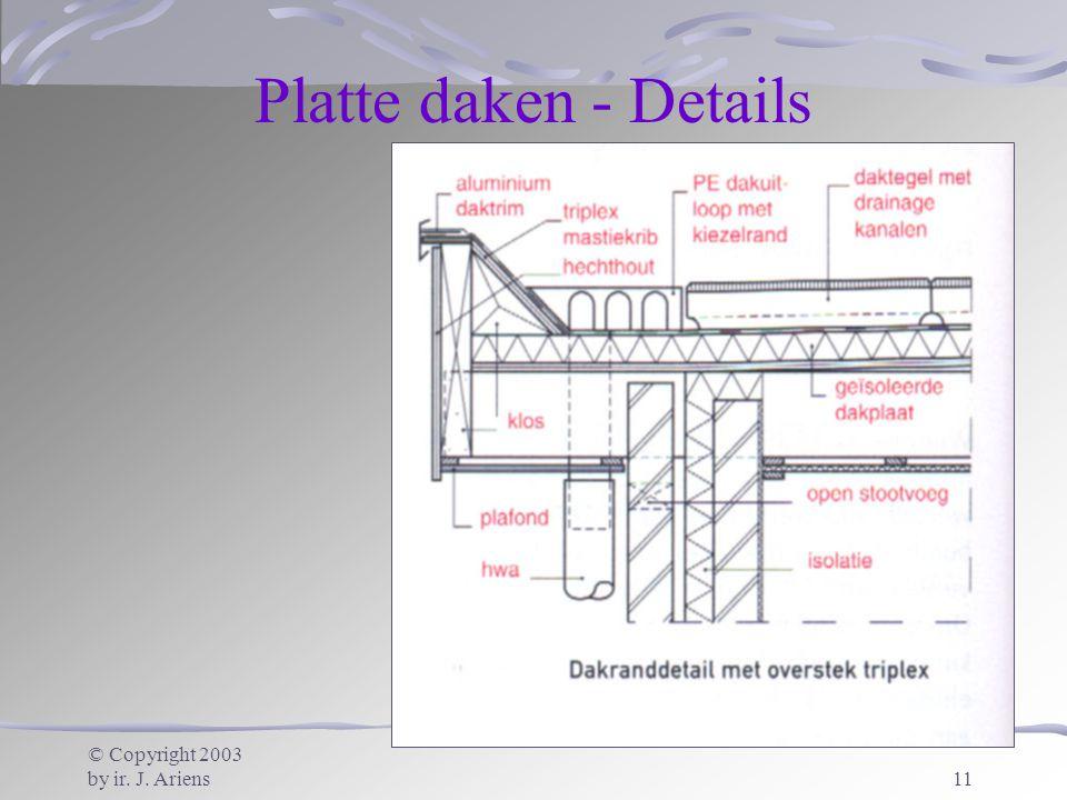 © Copyright 2003 by ir. J. Ariens11 Platte daken - Details