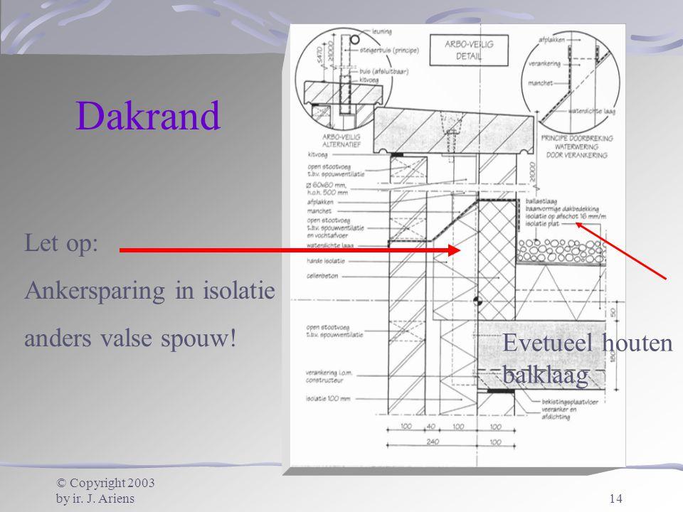 © Copyright 2003 by ir. J. Ariens14 Let op: Ankersparing in isolatie anders valse spouw! Evetueel houten balklaag Dakrand