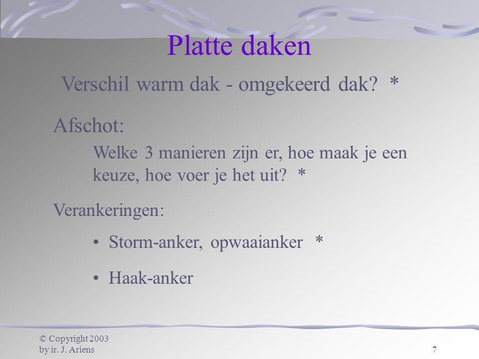 © Copyright 2003 by ir. J. Ariens7 Platte daken Storm-anker, opwaaianker * Haak-anker Afschot: Welke 3 manieren zijn er, hoe maak je een keuze, hoe vo