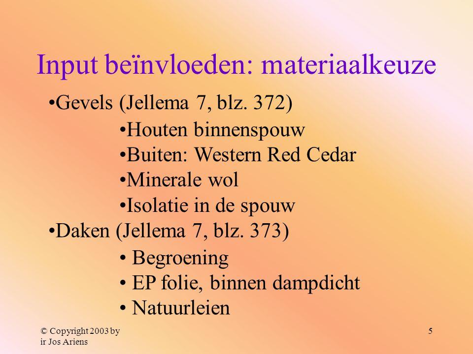 © Copyright 2003 by ir Jos Ariens 5 Input beïnvloeden: materiaalkeuze Gevels (Jellema 7, blz. 372) Houten binnenspouw Buiten: Western Red Cedar Minera
