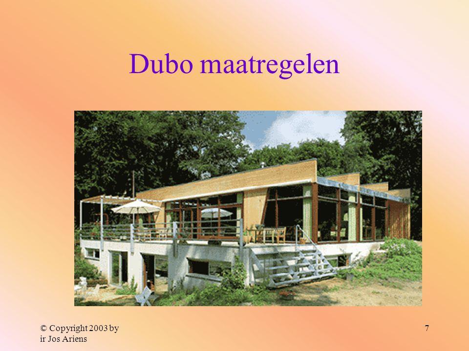 © Copyright 2003 by ir Jos Ariens 7 Dubo maatregelen Afvalbeheersing Binnenmilieukwaliteit Waterbesparing Energiebesparing Materiaalkeuze