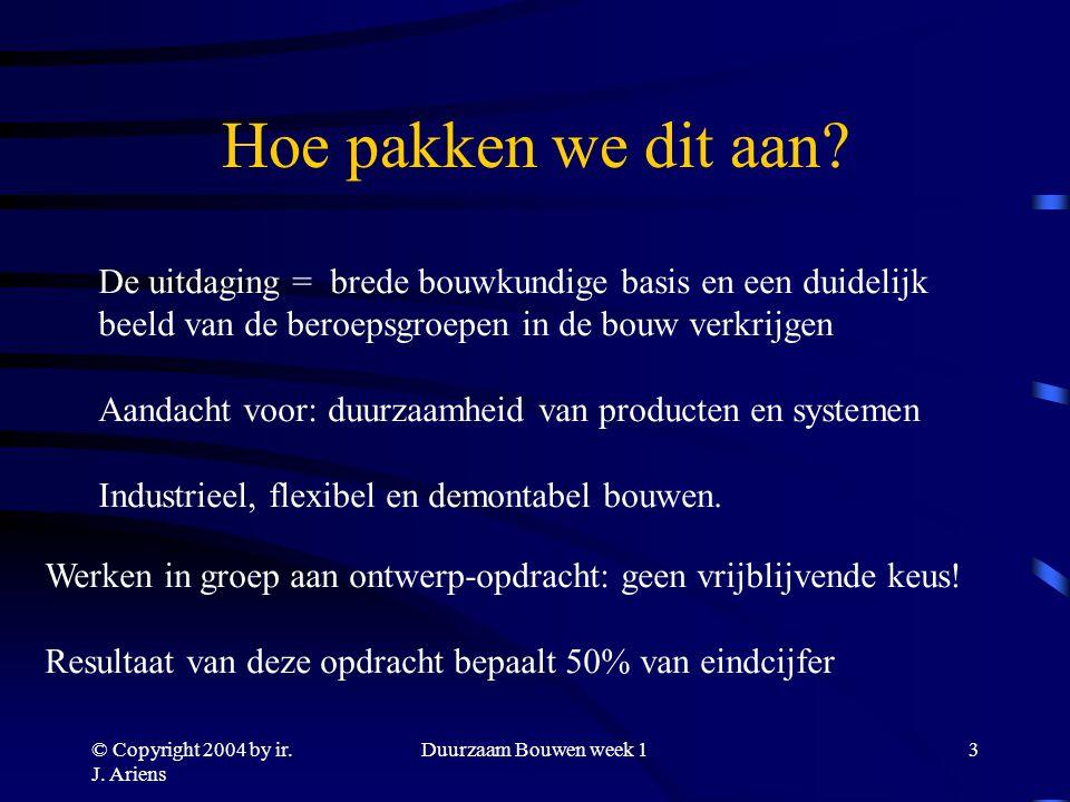 © Copyright 2004 by ir. J. Ariens Duurzaam Bouwen week 12 Waar gaat dit over.