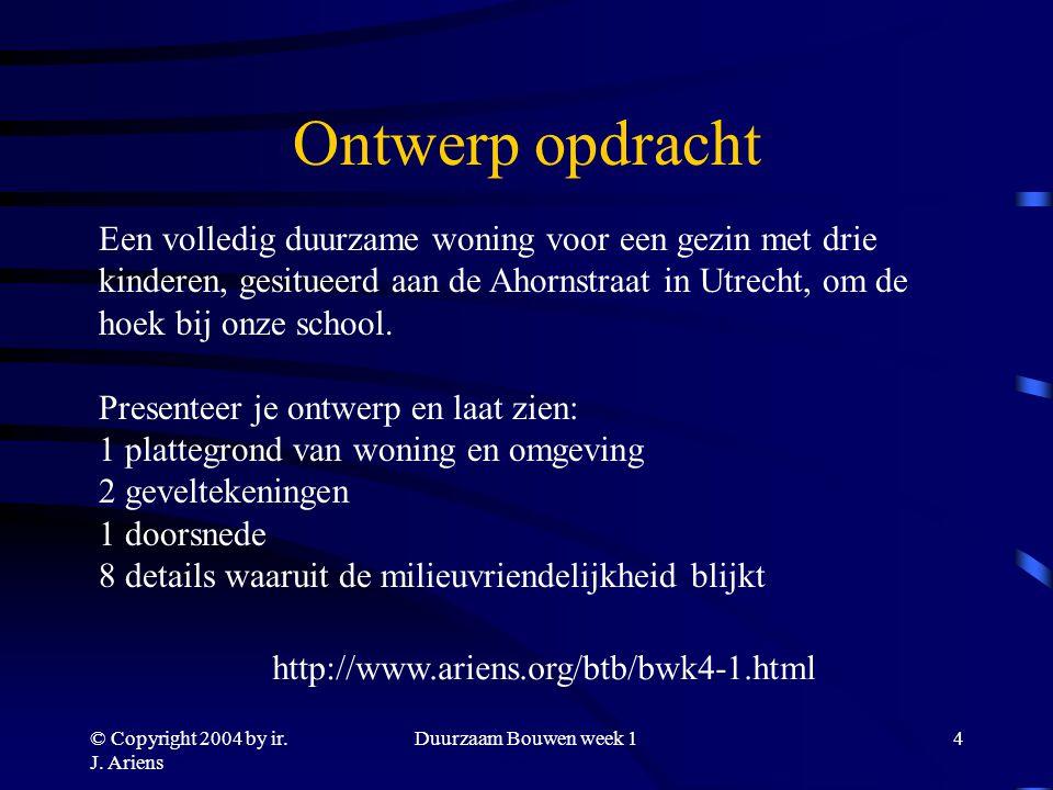 © Copyright 2004 by ir. J. Ariens Duurzaam Bouwen week 13 Hoe pakken we dit aan? Werken in groep aan ontwerp-opdracht: geen vrijblijvende keus! Result