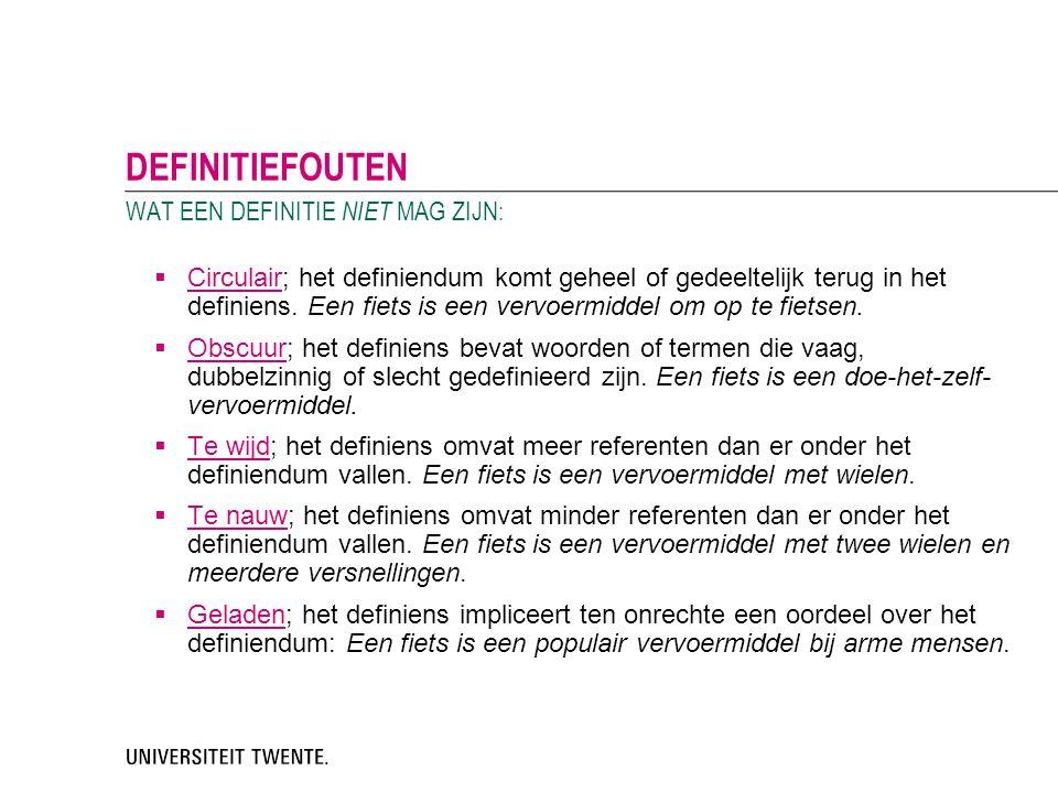  Circulair; het definiendum komt geheel of gedeeltelijk terug in het definiens. Een fiets is een vervoermiddel om op te fietsen.  Obscuur; het defin