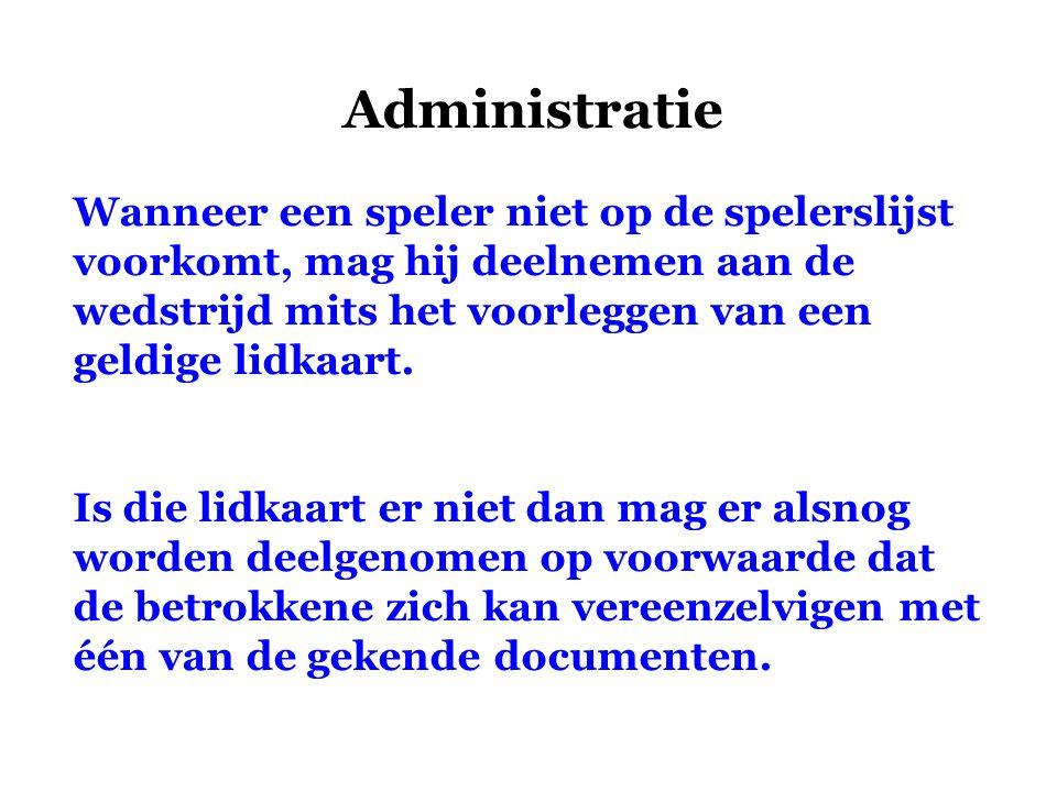 Administratie Wanneer een speler niet op de spelerslijst voorkomt, mag hij deelnemen aan de wedstrijd mits het voorleggen van een geldige lidkaart.