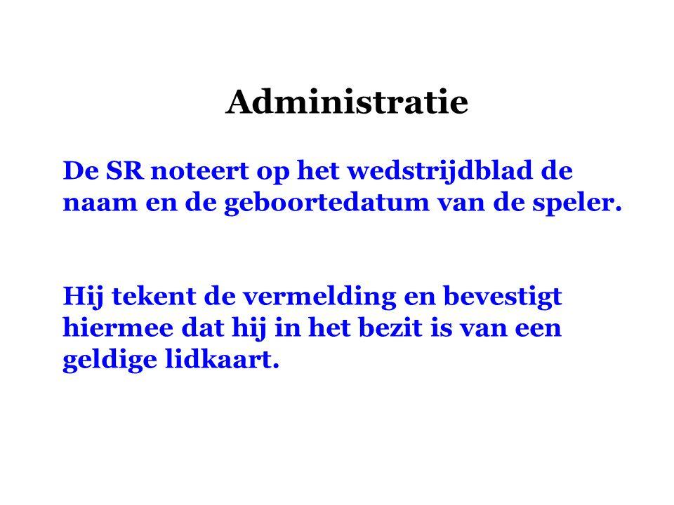 Administratie De SR noteert op het wedstrijdblad de naam en de geboortedatum van de speler.