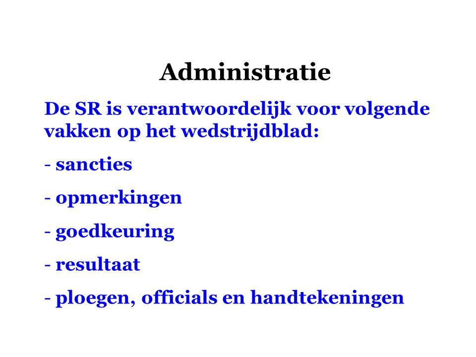 Administratie De SR is verantwoordelijk voor volgende vakken op het wedstrijdblad: - sancties - opmerkingen - goedkeuring - resultaat - ploegen, offic