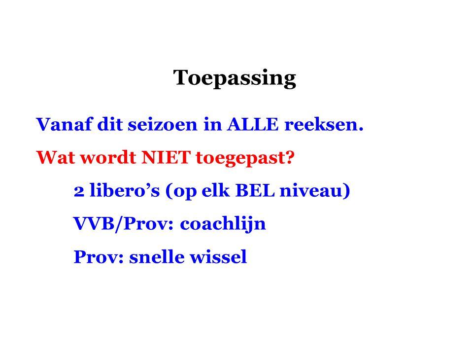 Toepassing Vanaf dit seizoen in ALLE reeksen. Wat wordt NIET toegepast? 2 libero's (op elk BEL niveau) VVB/Prov: coachlijn Prov: snelle wissel
