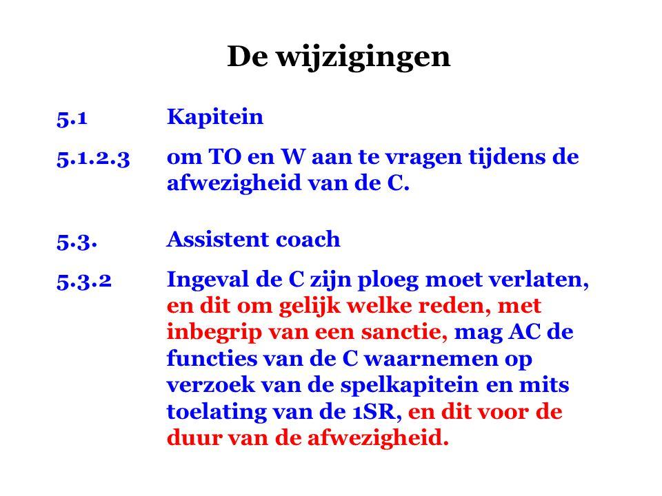 De wijzigingen 5.1Kapitein 5.1.2.3om TO en W aan te vragen tijdens de afwezigheid van de C. 5.3.Assistent coach 5.3.2Ingeval de C zijn ploeg moet verl