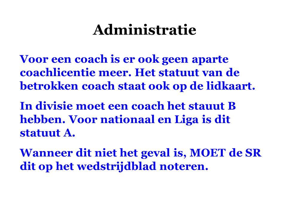 Administratie Voor een coach is er ook geen aparte coachlicentie meer. Het statuut van de betrokken coach staat ook op de lidkaart. In divisie moet ee