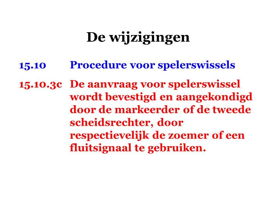 De wijzigingen 15.10Procedure voor spelerswissels 15.10.3cDe aanvraag voor spelerswissel wordt bevestigd en aangekondigd door de markeerder of de twee
