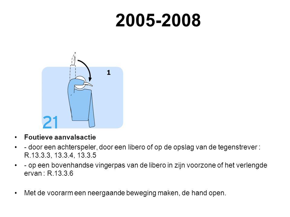 VVB SR commissie - reglementen 2009-2012 2005-2008 Foutieve aanvalsactie - door een achterspeler, door een libero of op de opslag van de tegenstrever : R.13.3.3, 13.3.4, 13.3.5 - op een bovenhandse vingerpas van de libero in zijn voorzone of het verlengde ervan : R.13.3.6 Met de voorarm een neergaande beweging maken, de hand open.