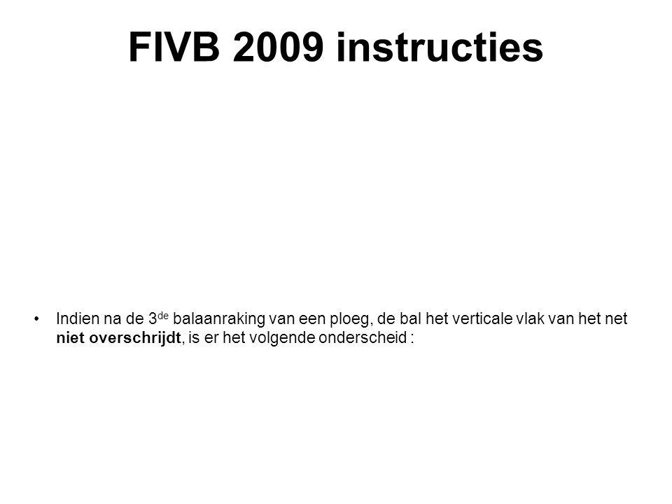 VVB SR commissie - reglementen 2009-2012 FIVB 2009 instructies Indien na de 3 de balaanraking van een ploeg, de bal het verticale vlak van het net niet overschrijdt, is er het volgende onderscheid :
