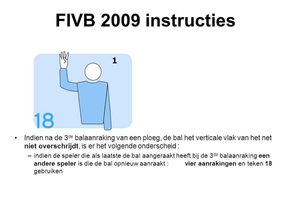 VVB SR commissie - reglementen 2009-2012 FIVB 2009 instructies Indien na de 3 de balaanraking van een ploeg, de bal het verticale vlak van het net niet overschrijdt, is er het volgende onderscheid : –indien de speler die als laatste de bal aangeraakt heeft bij de 3 de balaanraking een andere speler is die de bal opnieuw aanraakt : vier aanrakingen en teken 18 gebruiken