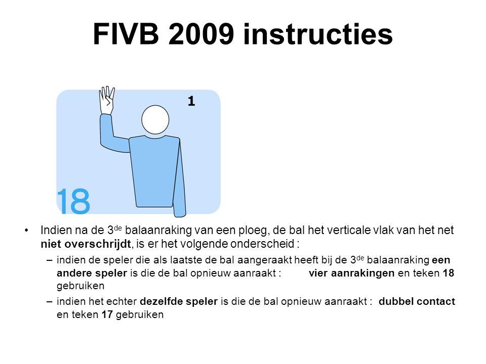 VVB SR commissie - reglementen 2009-2012 FIVB 2009 instructies Indien na de 3 de balaanraking van een ploeg, de bal het verticale vlak van het net nie