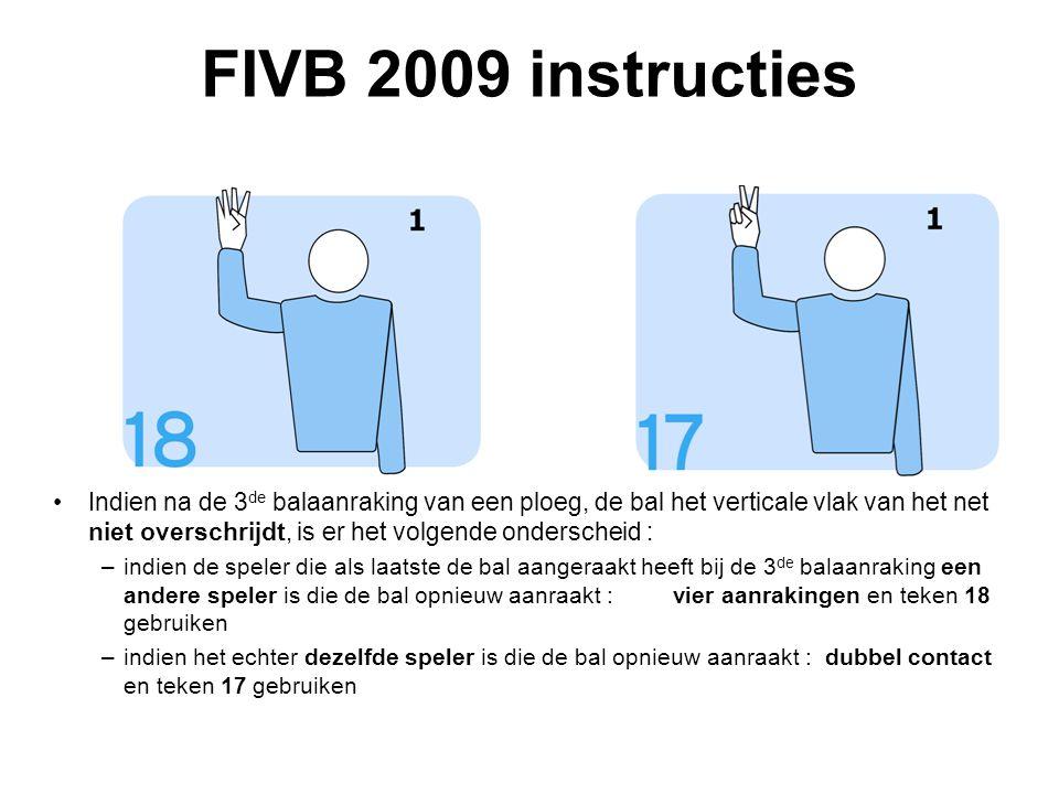 VVB SR commissie - reglementen 2009-2012 FIVB 2009 instructies Indien na de 3 de balaanraking van een ploeg, de bal het verticale vlak van het net niet overschrijdt, is er het volgende onderscheid : –indien de speler die als laatste de bal aangeraakt heeft bij de 3 de balaanraking een andere speler is die de bal opnieuw aanraakt : vier aanrakingen en teken 18 gebruiken –indien het echter dezelfde speler is die de bal opnieuw aanraakt : dubbel contact en teken 17 gebruiken