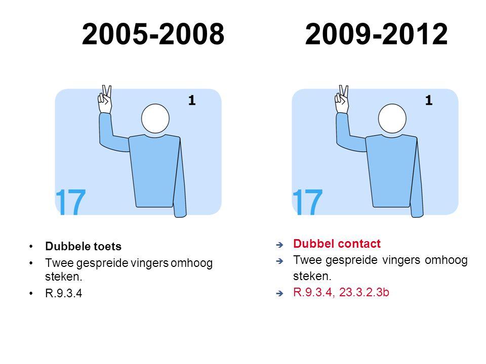 VVB SR commissie - reglementen 2009-2012 2005-20082009-2012 Dubbele toets Twee gespreide vingers omhoog steken. R.9.3.4  Dubbel contact  Twee gespre