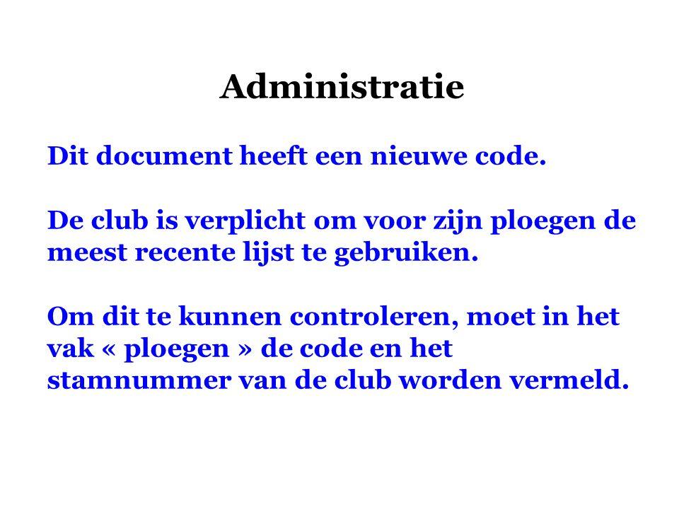 Administratie Dit document heeft een nieuwe code. De club is verplicht om voor zijn ploegen de meest recente lijst te gebruiken. Om dit te kunnen cont