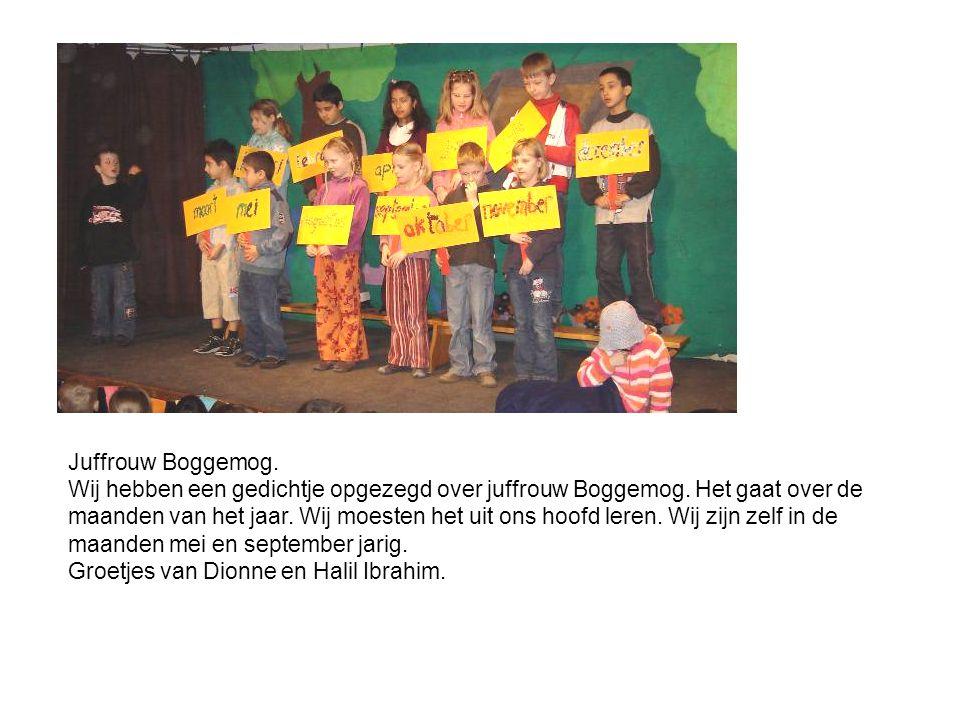Juffrouw Boggemog. Wij hebben een gedichtje opgezegd over juffrouw Boggemog. Het gaat over de maanden van het jaar. Wij moesten het uit ons hoofd lere