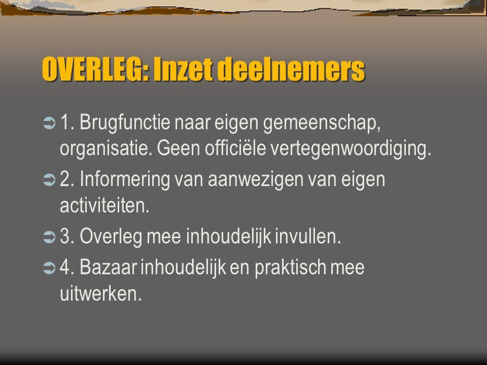 OVERLEG: Inzet deelnemers  1. Brugfunctie naar eigen gemeenschap, organisatie.