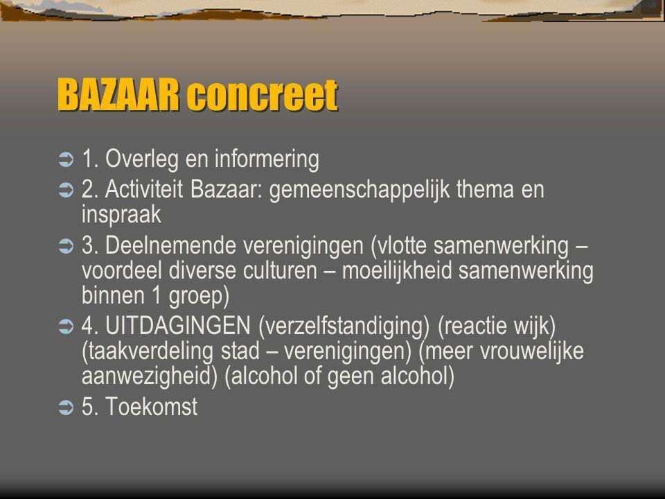 BAZAAR concreet  1. Overleg en informering  2.