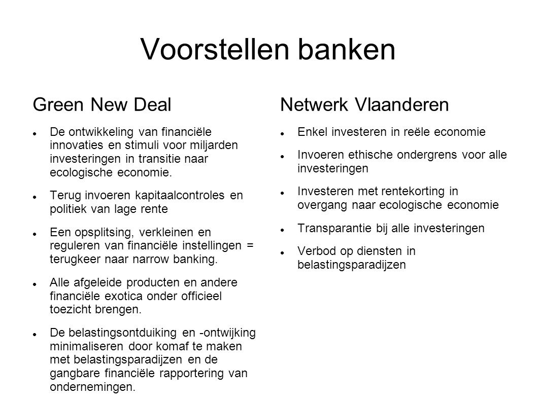 Voorstellen banken Green New Deal De ontwikkeling van financiële innovaties en stimuli voor miljarden investeringen in transitie naar ecologische economie.