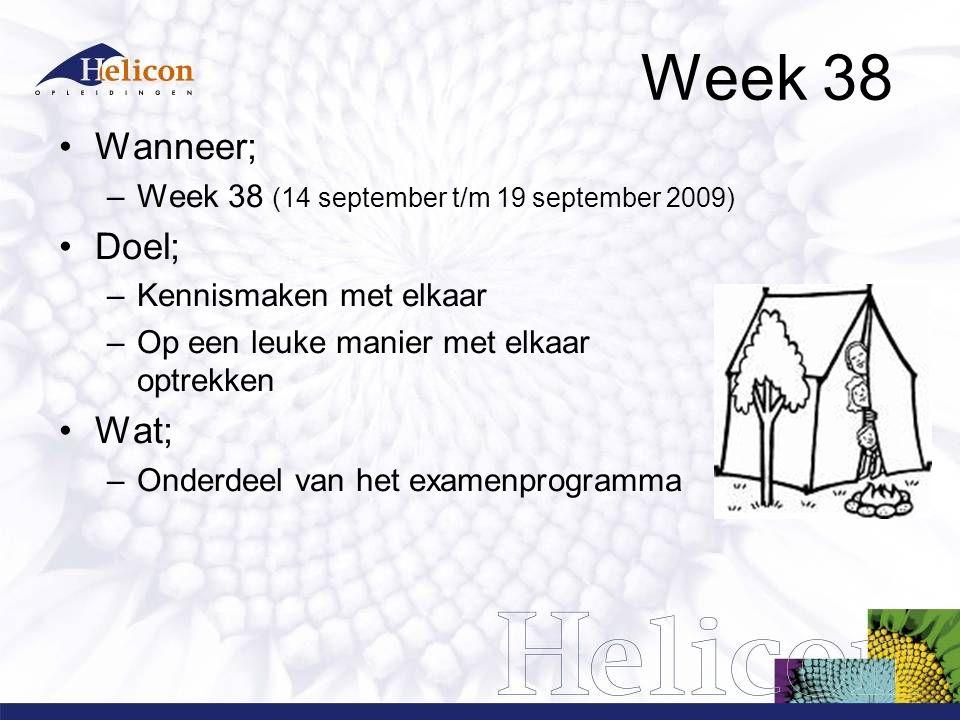Week 38 Wanneer; –Week 38 (14 september t/m 19 september 2009) Doel; –Kennismaken met elkaar –Op een leuke manier met elkaar optrekken Wat; –Onderdeel van het examenprogramma