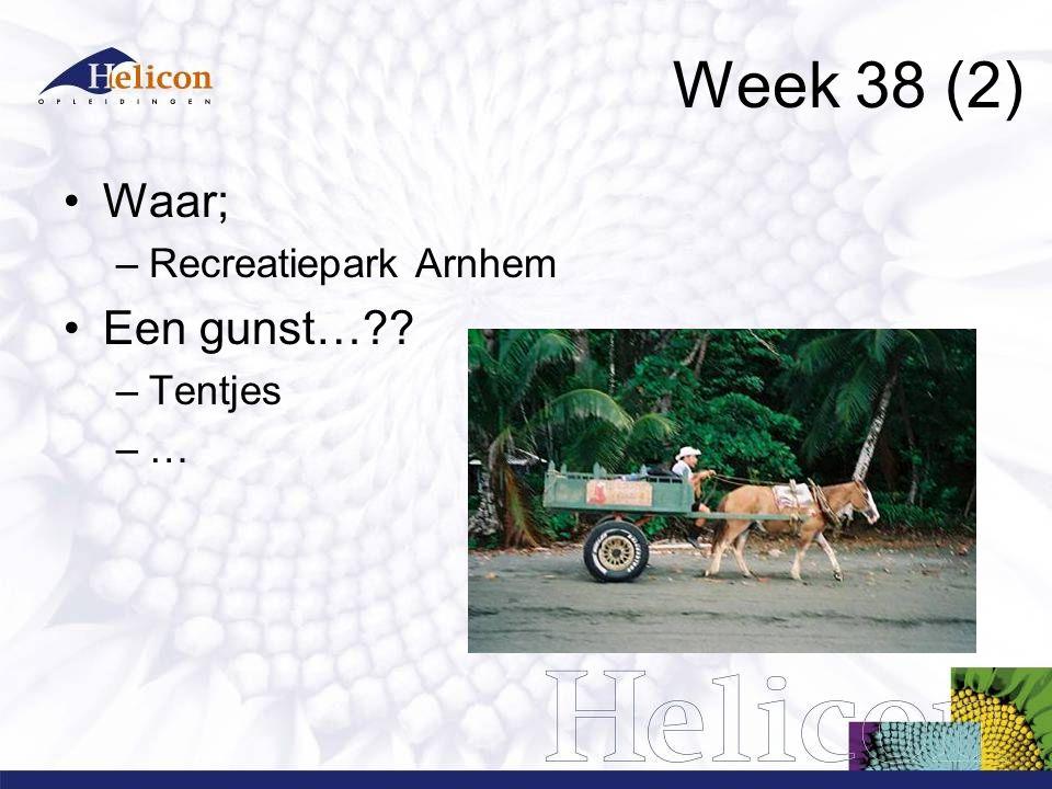 Week 38 (2) Waar; –Recreatiepark Arnhem Een gunst… –Tentjes –…