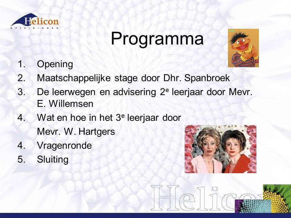 Programma 1.Opening 2.Maatschappelijke stage door Dhr.