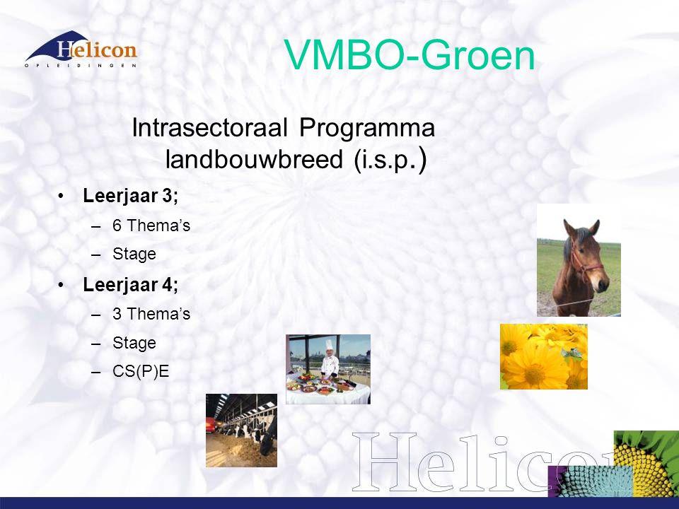 VMBO-Groen Intrasectoraal Programma landbouwbreed (i.s.p.) Leerjaar 3; –6 Thema's –Stage Leerjaar 4; –3 Thema's –Stage –CS(P)E