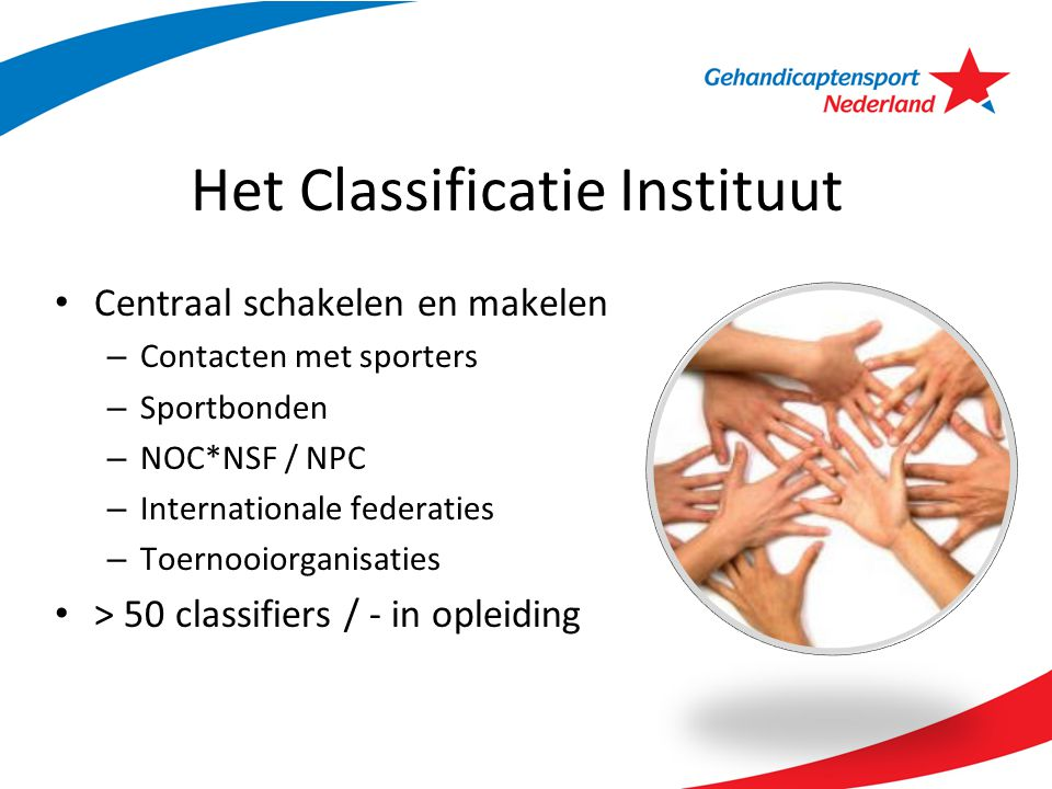 Het Classificatie Instituut Centraal schakelen en makelen – Contacten met sporters – Sportbonden – NOC*NSF / NPC – Internationale federaties – Toernoo