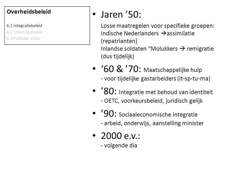 """Jaren '50: Losse maatregelen voor specifieke groepen: Indische Nederlanders  assimilatie (repatrianten) Inlandse soldaten """"Molukkers  remigratie (du"""