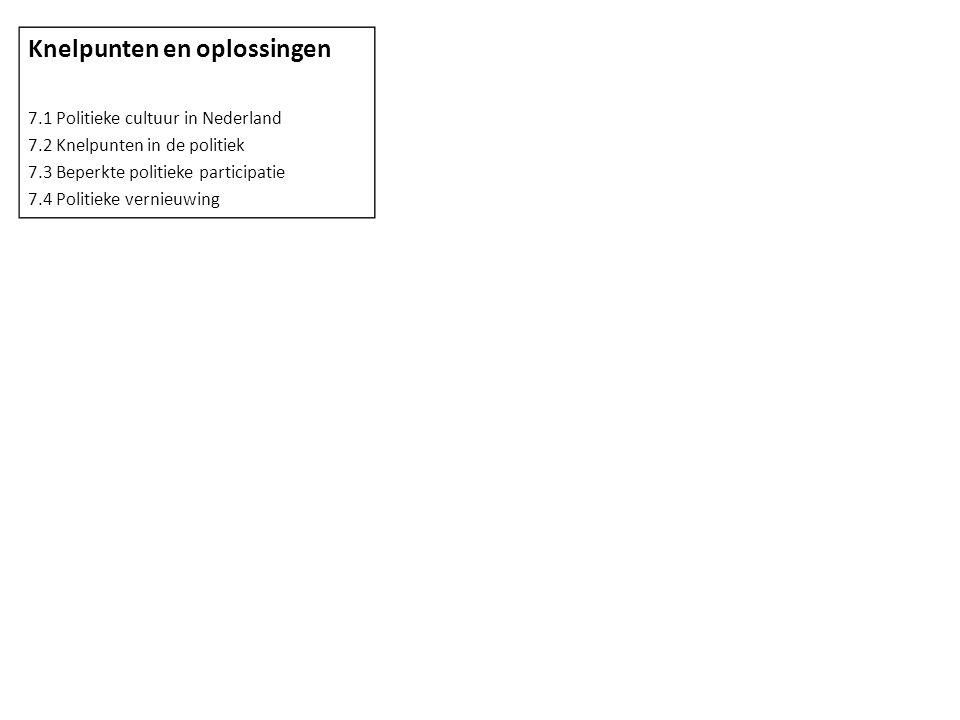 Knelpunten en oplossingen 7.1 Politieke cultuur in Nederland 7.2 Knelpunten in de politiek 7.3 Beperkte politieke participatie 7.4 Politieke vernieuwing
