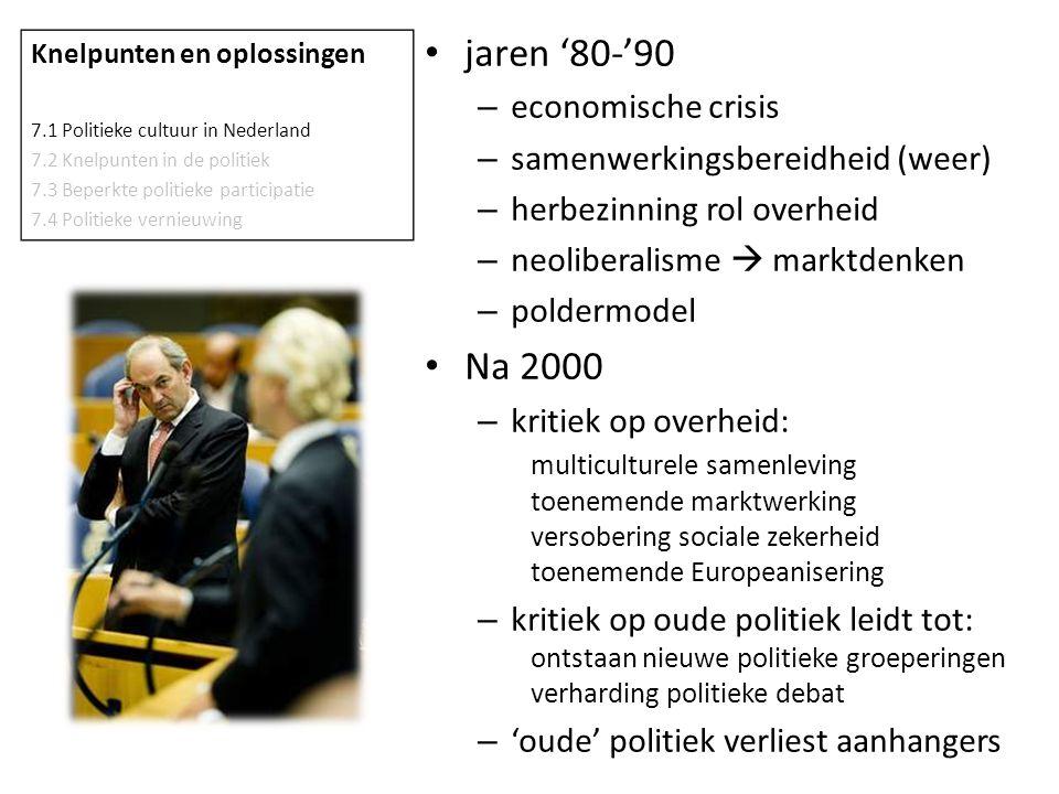 jaren '80-'90 – economische crisis – samenwerkingsbereidheid (weer) – herbezinning rol overheid – neoliberalisme  marktdenken – poldermodel Na 2000 –