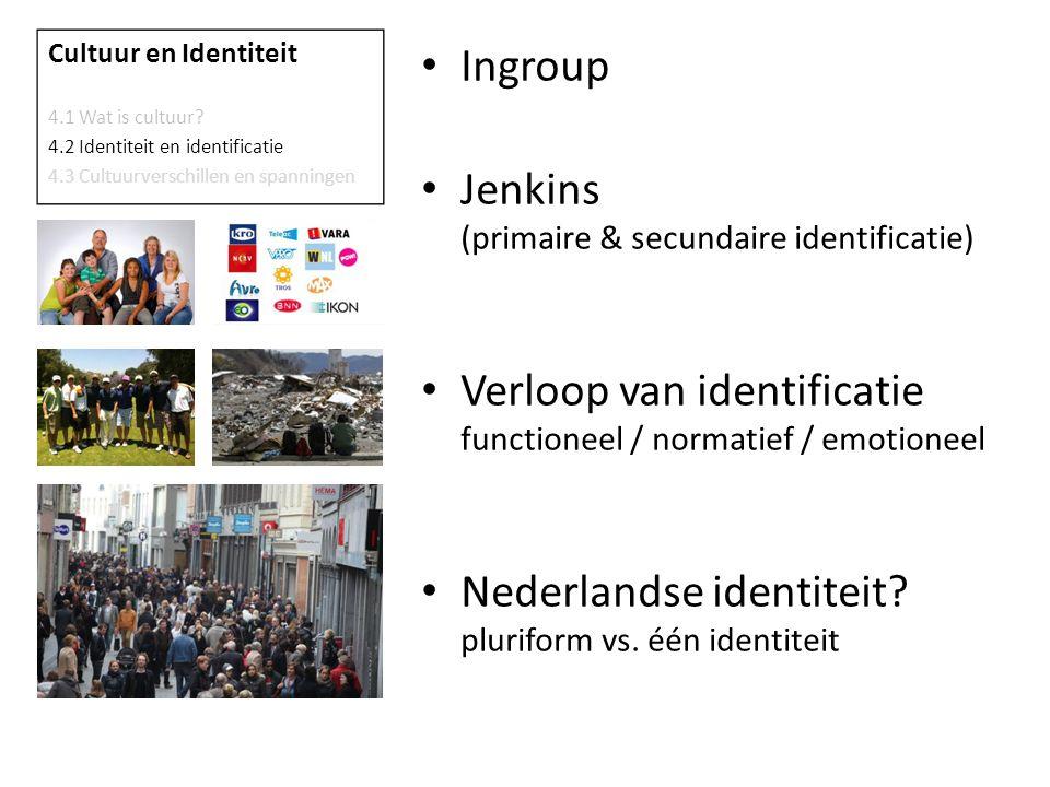 Ingroup Jenkins (primaire & secundaire identificatie) Verloop van identificatie functioneel / normatief / emotioneel Nederlandse identiteit.