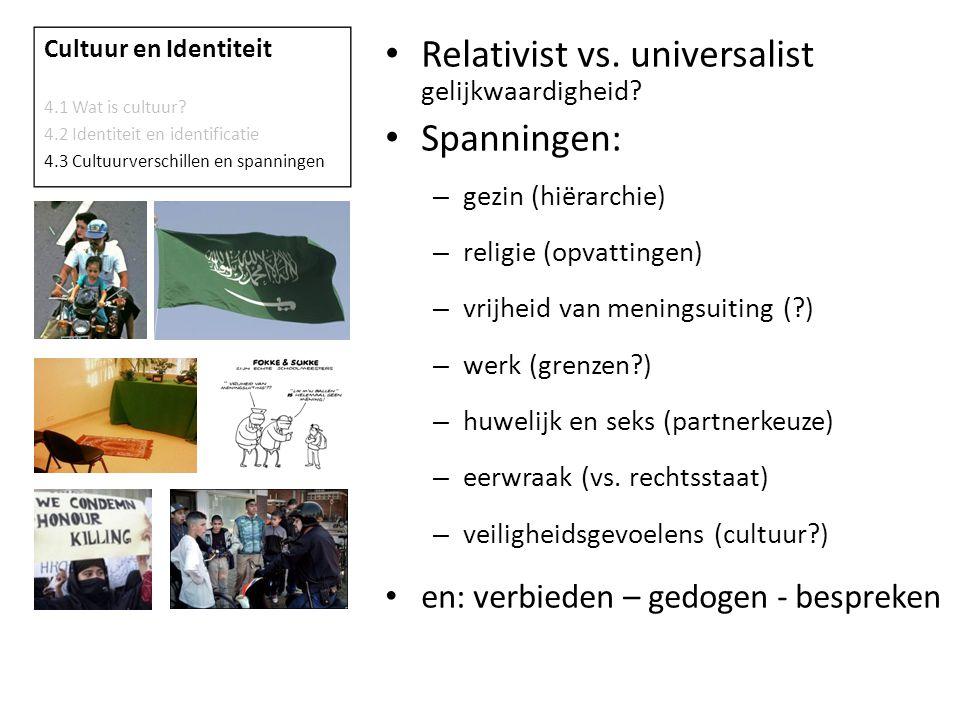 Relativist vs.universalist gelijkwaardigheid.