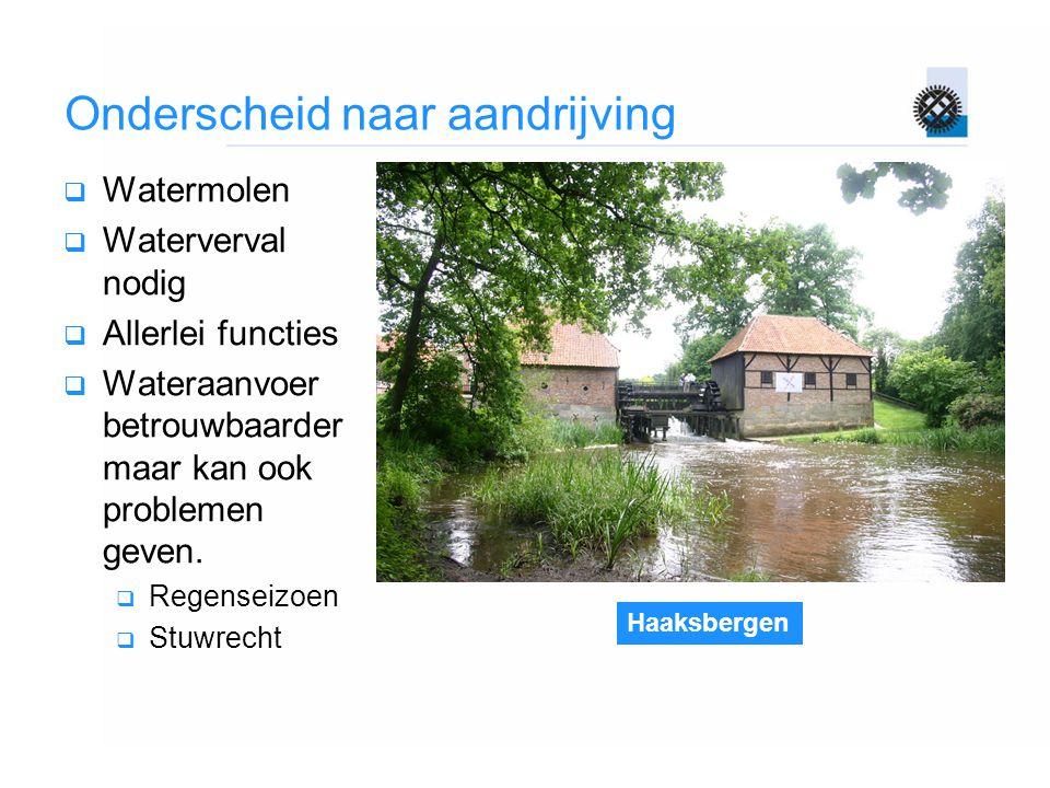 Haaksbergen Onderscheid naar aandrijving  Watermolen  Waterverval nodig  Allerlei functies  Wateraanvoer betrouwbaarder maar kan ook problemen gev