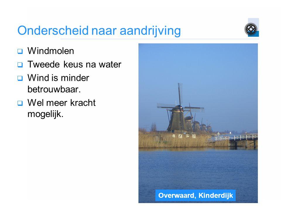 Overwaard, Kinderdijk Onderscheid naar aandrijving  Windmolen  Tweede keus na water  Wind is minder betrouwbaar.  Wel meer kracht mogelijk.