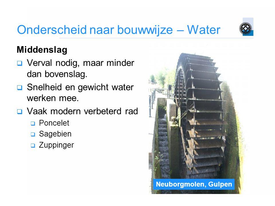 Onderscheid naar bouwwijze – Water Middenslag  Verval nodig, maar minder dan bovenslag.  Snelheid en gewicht water werken mee.  Vaak modern verbete